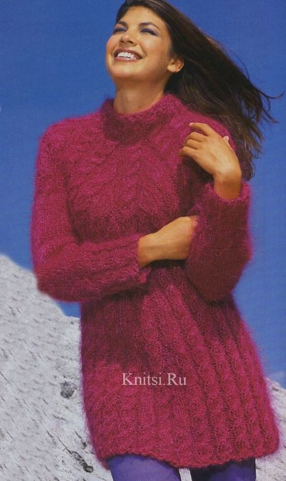 Длинный расклёшенный пуловер-туника (мохер). 200 м/ 100 г; 400 г
