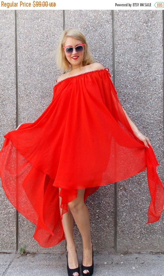 Red asymmetrical kaftan hoodie. Maxi plus size kaftan dress made of sheer red chiffon vaporous veil. Pencil underneath red trikot dress.Red chrystal woven necklace sewn on dress. Elegant and fancy dress. Extravagant summer kaftan. Two pieces included.    Care instructions: veil: 100% polyester  underneath dress: 95% viscose, 5% full lycra  Hand wash at 30 degrees Celsius    The model in the picture is size S.    Can be made in ALL SIZES.    If you have any other specific requirements, do not…
