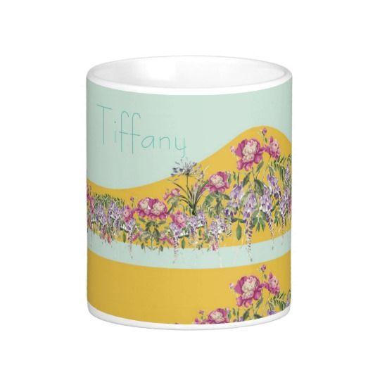 Customize name on Pretty Yellow Aqua Floral Design Classic White Coffee Mug