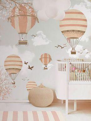 Little Hands Wallpaper Mural -  Balloon Ride II by Little Hands, via Behance