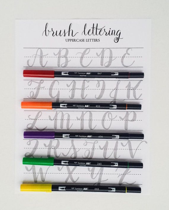 Brush Lettering Practice Worksheets Uppercase by StunningScript