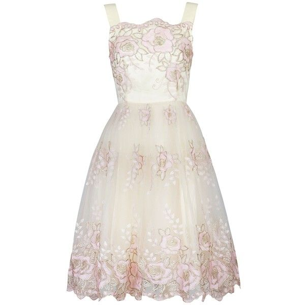 Jolie Moi Tulle Floral Prom Dress, Beige (£85) ❤ liked on Polyvore featuring dresses, white floral dress, white cocktail dresses, floral maxi dress, prom dresses and sleeveless maxi dress