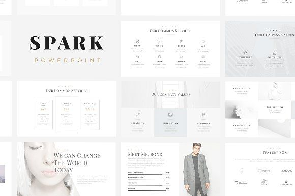 Ad: Spark Minimal PowerPoint Template - Presentations. Present your works in a professional and clean way with Spark Minimal PowerPoint Template. #powerpoint #presentation #slide $20