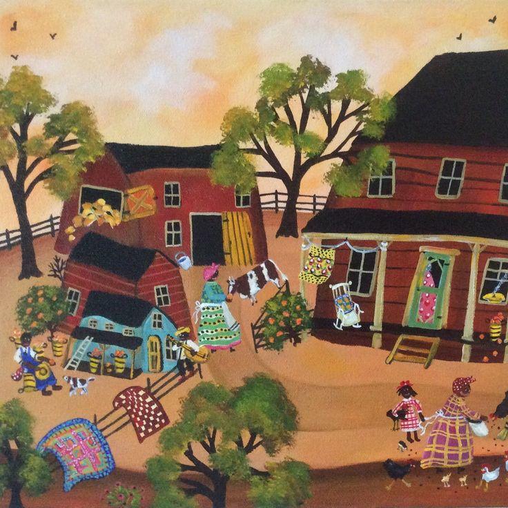 Primitive African American Folk Art Painting Farm Life