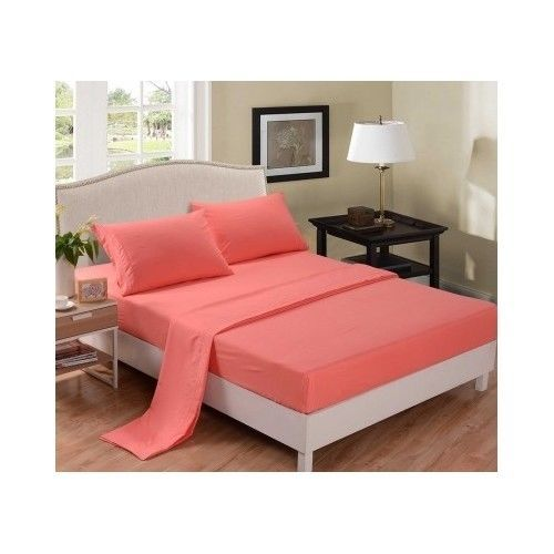 Queen Bed Sheet Set 4pc Microfiber Bedding Coral New Free Shipping | eBay