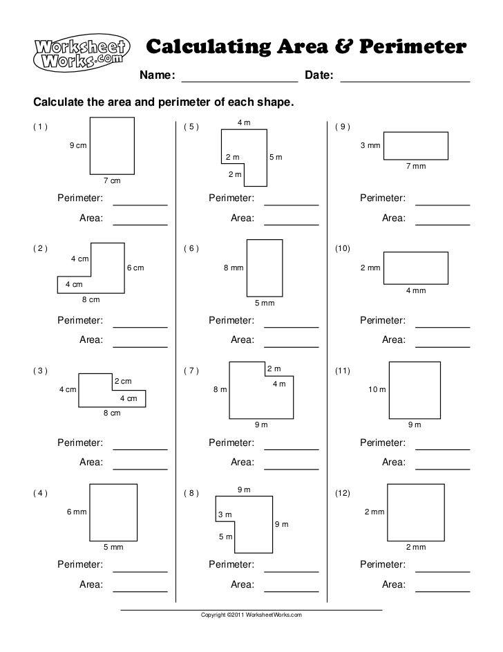Calculating Area Perimetera Name Area And Perimeter Area And Perimeter Worksheets Perimeter Worksheets
