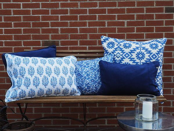 "Esthetic Living - Cushion Cover - Jasna Blue - 16""x 24"", $44.95…"