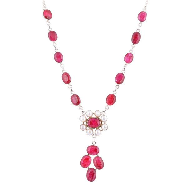 Ruby Jewellery – Silver And Pearl With Ruby Silver Necklace 18'' – a unique product by IndianCraftPalace on DaWanda