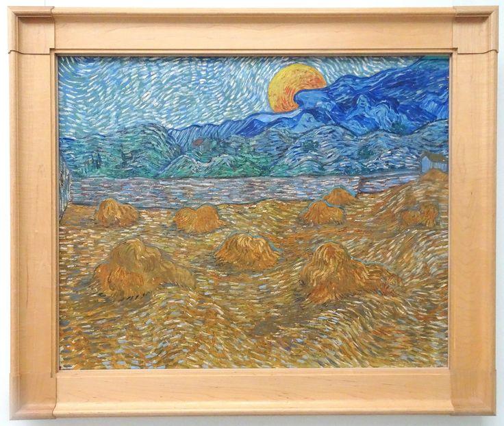 Hoge Veluwe - Museum Kröller-Müller. Vincent van Gogh (1853/1890) - 'Landschap met korenschelven en opkomende maan' - juli 1889 - olieverf op doek. Foto: G.J. Koppenaal - 30/8/2017.