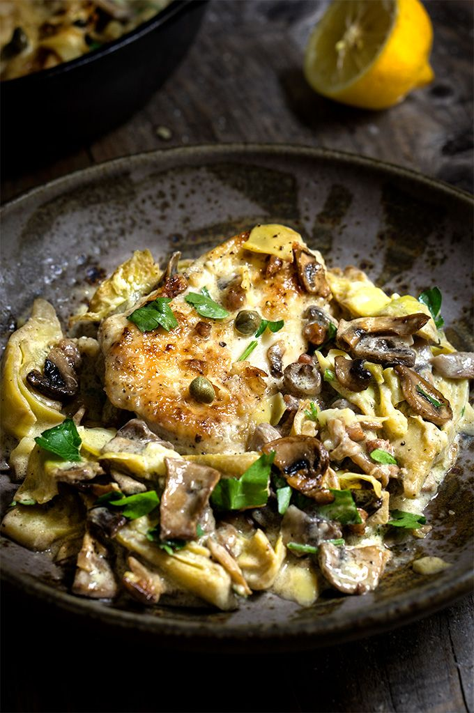Chicken scallopini with mushrooms and artichokes in a luscious lemon butter sauce - simply divine! | www.viktoriastable.com More