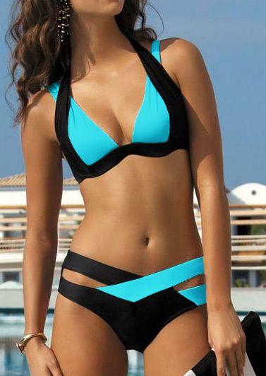 Splicing Color Block Criss-Cross Halter Bikini Set - Bellelily
