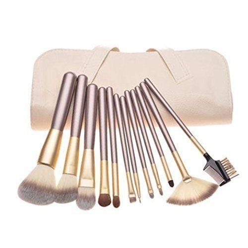 Eggsnow professionelles Make-up-Pinselset (Pinsel zum Auftragen mit Rouge, Lidschatten, Augenbrauenpuder, Wimpernb�rste, Lippenstiftpinsel, Concealer- und Puderpinsel), Rosa, 10-teilig 12PCS Beige Bag