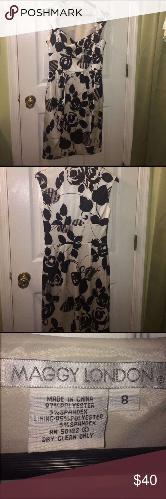Maggy London 40's style dress. This gorgeous dress will have your man wondering why he waited so long to take you out for date night. This dress is fully lined and dry clean only. It is approximately 39 inches long from the shoulder to the bottom of the hem.  I never had the chance to wear this so I am reposhing it so someone out there can love it. Questions. Please ask Maggy London Dresses