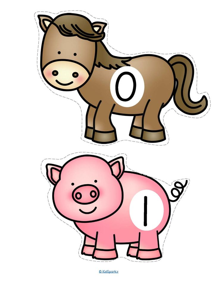 FREE This is a set of farm animals, numbered 0-20, to use for early learners - preschool, pre-K and Kindergarten. Large pieces for little hands. Animals included are: horse, pig, cow, sheep, goat, turkey, rooster, hen, herding dog, barn cat, goose. #preschoolcounting #farmanimals #preschoolnumbers