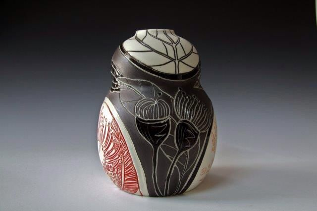 New form and design by Rediscover Ceramics- wrapped design. Inspired by Australian Botanicals, wheel thrown porcelain, sgraffito and incised carvings. See more work by Danica http://www.rediscovering.com.au/home