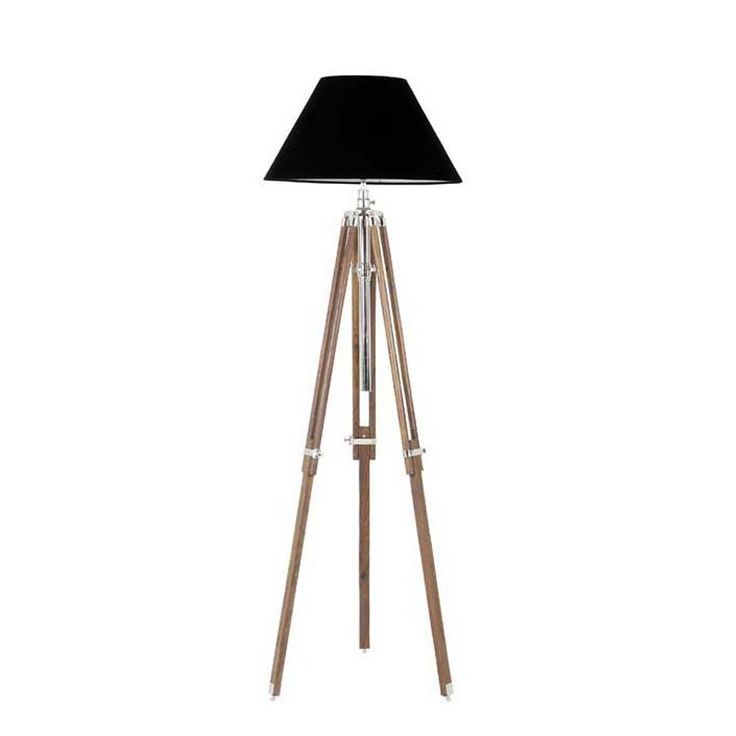 Eichholtz+Telescope+Floor+Lamp+Large+-+Nickel+-+Beautiful+nautical+feel+telescope+standard+lamp+from+Eichholtz.+The+piece+has+beautiful+fully+adjustable+wooden+legs+with+a+nickel+finish+and+coordinating+black+shade.