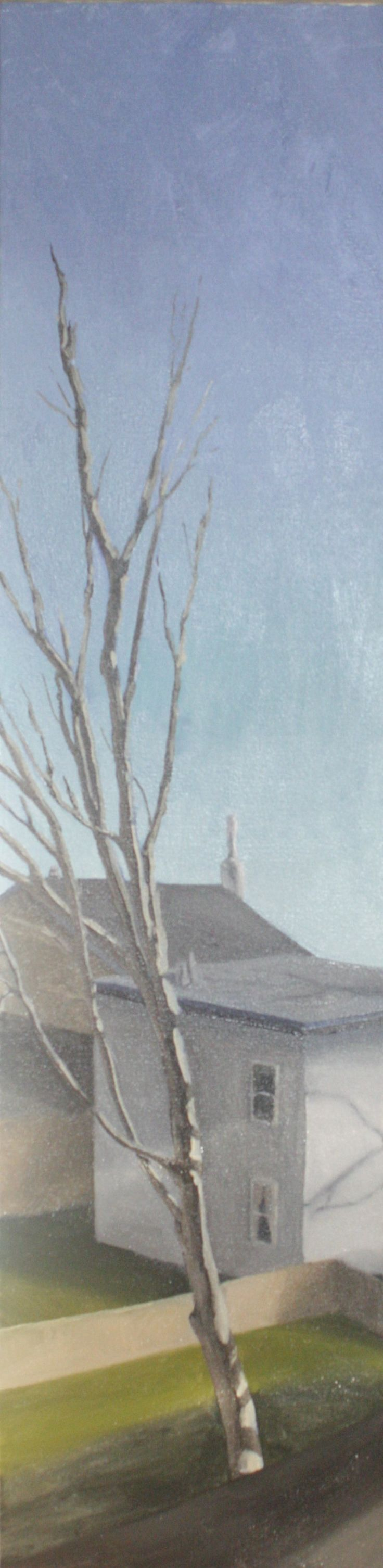 Alex L. King Painting - 4'x1' Oil on Canvas #painting #oil #house #tree #sky #grass #green #landscape #houses