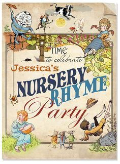Online For Instant Editable Printable Nursery Rhyme Birthday Party Invitations And Decorations