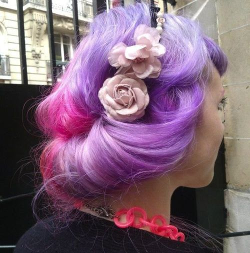 violet and pink hair