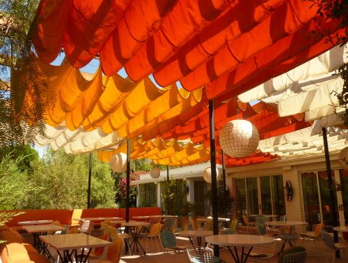 Colorful fabric canopies at Norma's Restaurant at Le Parker Méridien, Palm Springs, CA.