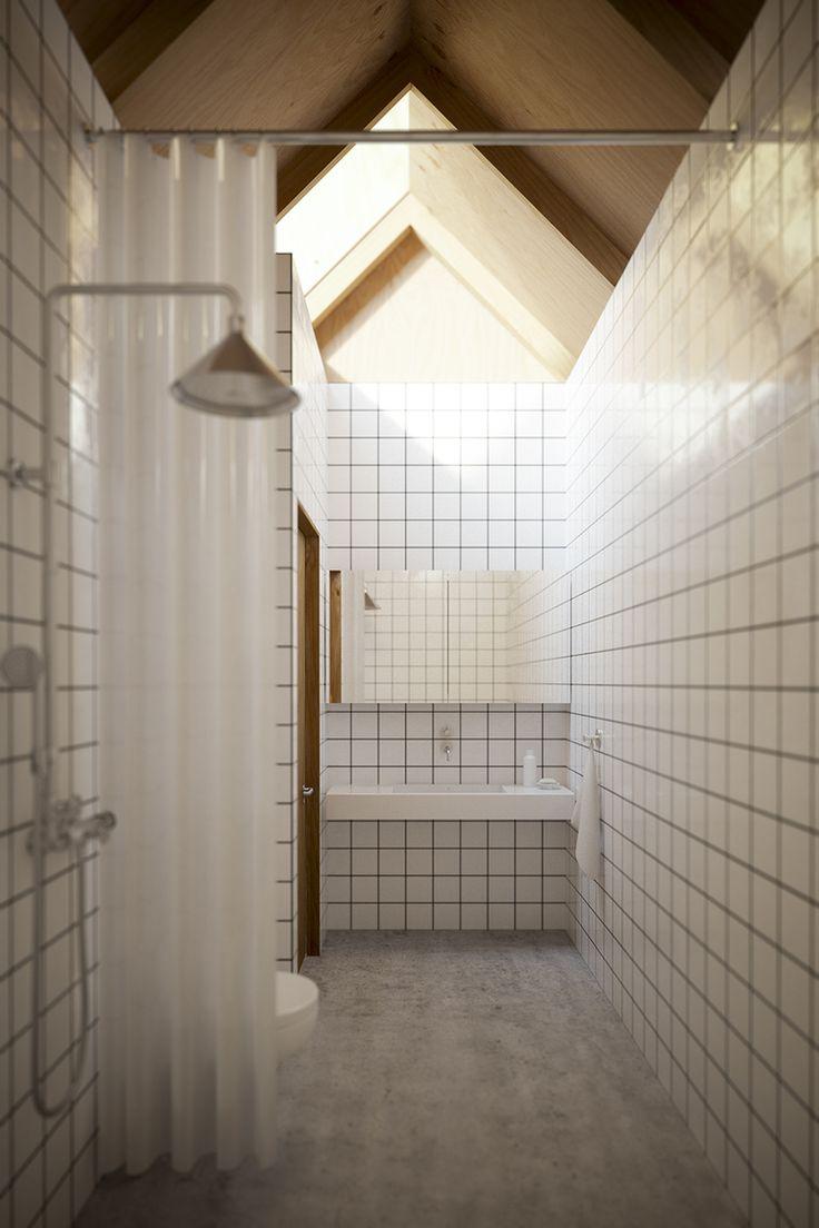 Baño: sin puerta. Cortinas traslúcidas.