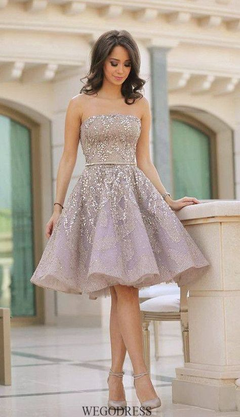7d469205b5f8 Ivory with Baby Pink Pop Short Beaded Tulle Party Evening Sparkly  Homecoming Dress #Shortdress #Shortpartydress #Partydress #Beadeddress  #Eveningdresses ...