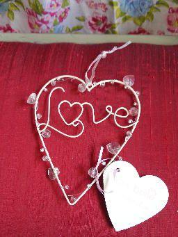 Cream Metal and Bead Hanging Love Heart