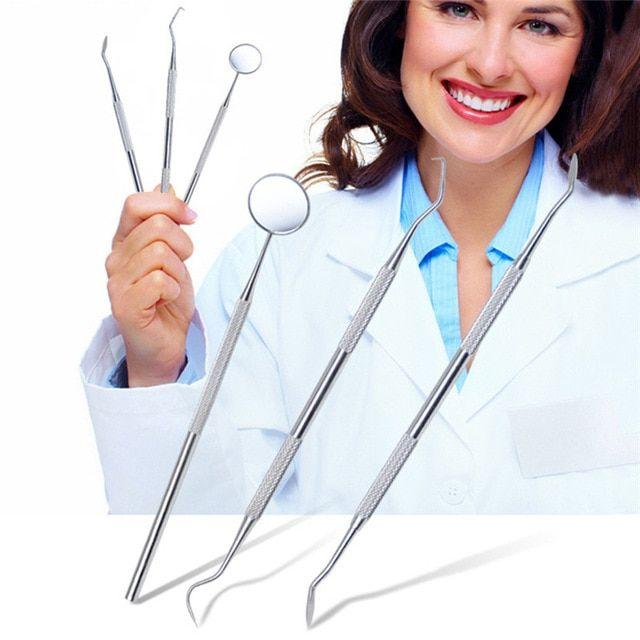 3Pcs/set Sickle Scaler Bented Dental Probe Mouth Guard Mirror Teeth Whitening To…