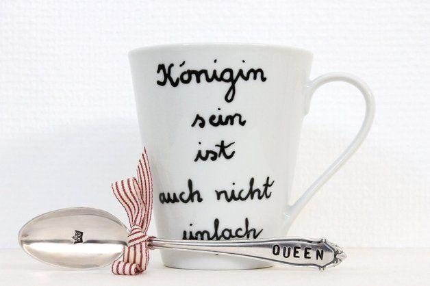 Geschenke für Frauen - Tasse & Löffel, QUEEN - ein Designerstück von theartofvariety bei DaWanda