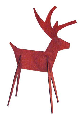wood reindeer and sleigh outside decorations | Red Reindeer Wood Cutouts | Contemporary Winter Holiday Season Decor