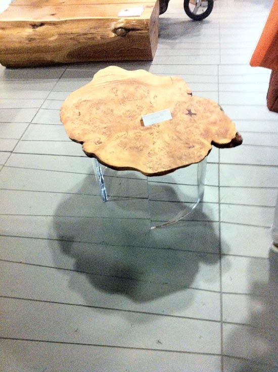 Our 1970 table - combining an aged cedar burl with contemporary clear acrylic.