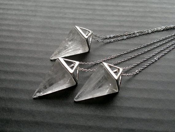 Clear Quartz Necklace Triangle Necklace Geometric by SinusFinnicus