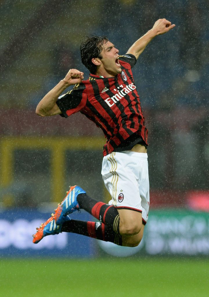 Kaká celebrates scoring his team's first goal during the Serie A match between AC Milan and SS Lazio at San Siro Stadium on October 30, 2013 in Milan, Italy.