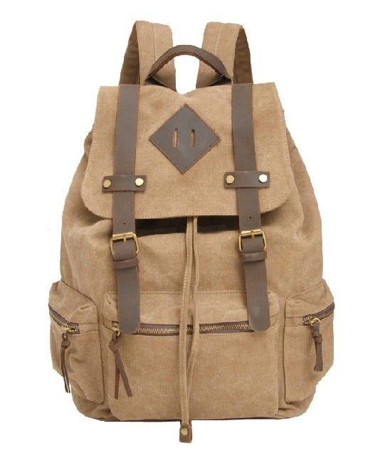 leather canvis backpack | Cute canvas backpacks, leather and canvas backpack
