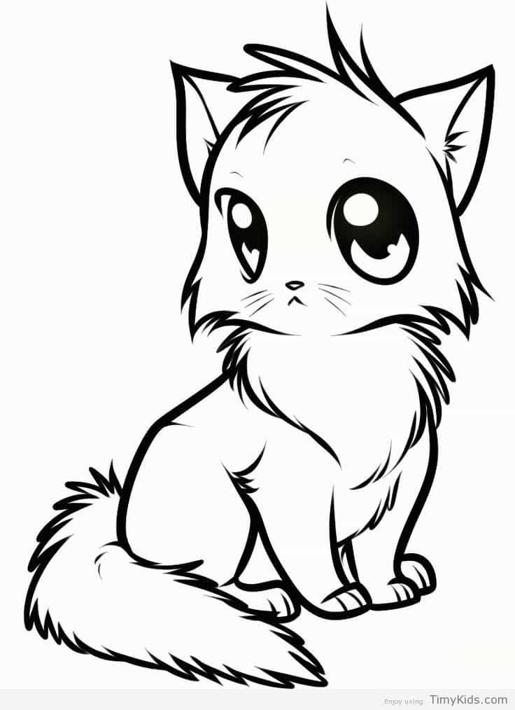 Kawaii Cat Coloring Page Youngandtae Com In 2020 Animal Drawings Cute Animals Images Cute Anime Cat
