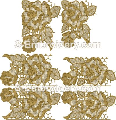 Rose Freestanding lace border machine embroidery set