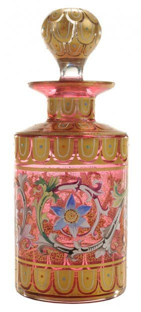 Myers-Neffe Cylindrical Enameled Gilt Cologne Bottle
