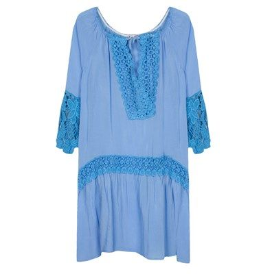 Flare fit long kaftan with lace