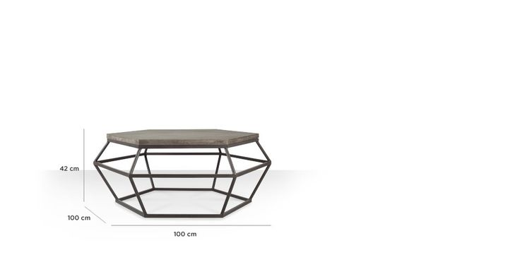 Swoon Editions Coffee table, industrial style in concrete & City Grey - £349