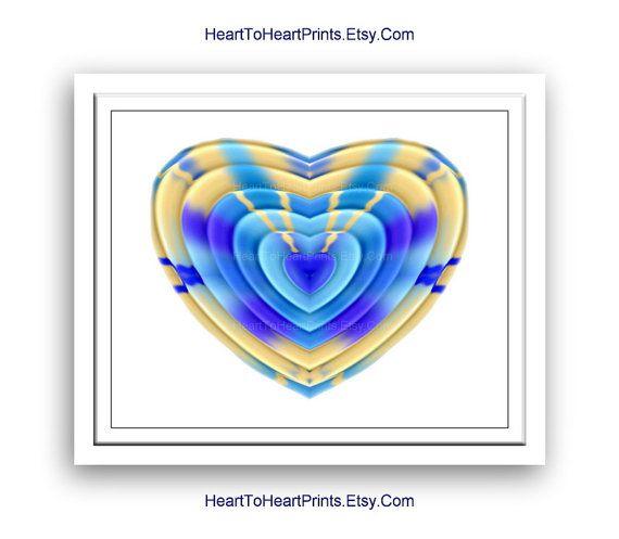 Royal Blue Aqua Heart Wall Art Love Wall Decor Heart Art Print Bedroom Bathroom Nursery Love Picture Anniversary Valentines Gift for Her