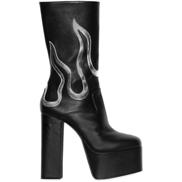 Dsquared2 Men 170mm Flames Leather Ankle Boots ($1,665) ❤ liked on Polyvore featuring men's fashion, men's shoes, men's boots, mens short boots, mens side zipper boots, ankle boots mens shoes, mens shoes and mens platform boots