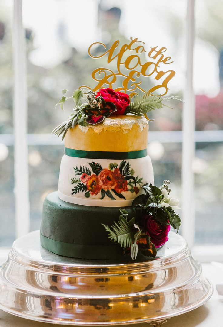 Homemade reception decorations cake ideas and designs - Homemade Wedding Cake With Laser Cut To The Moon And Back Cake Topper
