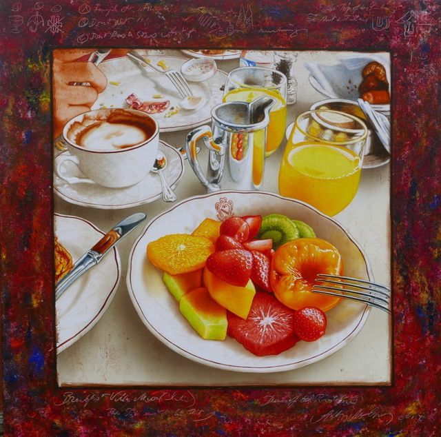 Artist name: Anton Molnar Title: Morning Size: 100 x 100 cm Medium: Oil on Canvas