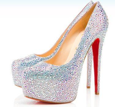 christian louboutin glitter platform heels