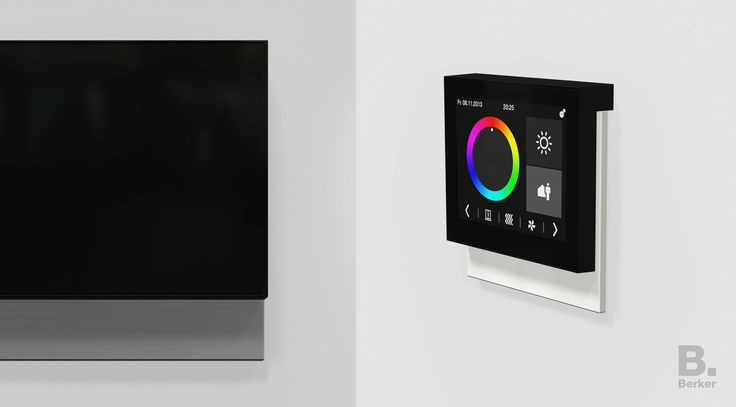 """Berker KNX Touch Control The KNX Touch Control room controller is one of the first examples of Berker's future design philosophy. The most striking visual feature is the interface element, the new distinguishing feature of a forthcoming product family, which is """"suspended"""" on a design frame made of 4 mm thick glass, aluminum or stainless steel. The architectural design of the revolutionary frameless switch gives the device a certain lightness."""