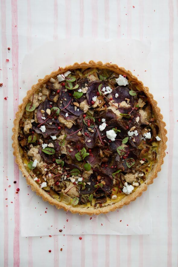Shiitake and Purple Potato Tart