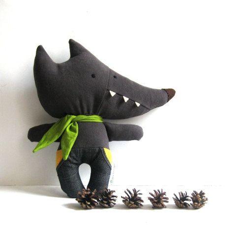 Wolf stuffed toy wolf soft toy rag doll wolf softie par ZazoMini, $35.00
