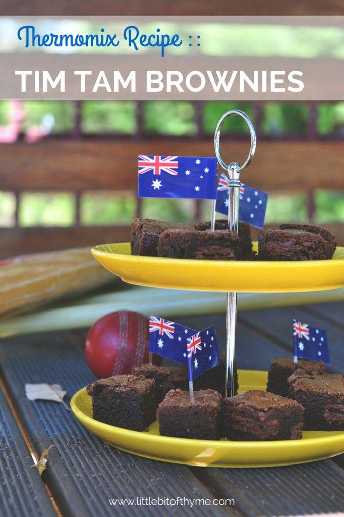 Thermomix Recipe Tim Tam Brownies. | http://www.littlebitofthyme.com/2015/01/19/thermomix-recipe-tim-tam-brownies/