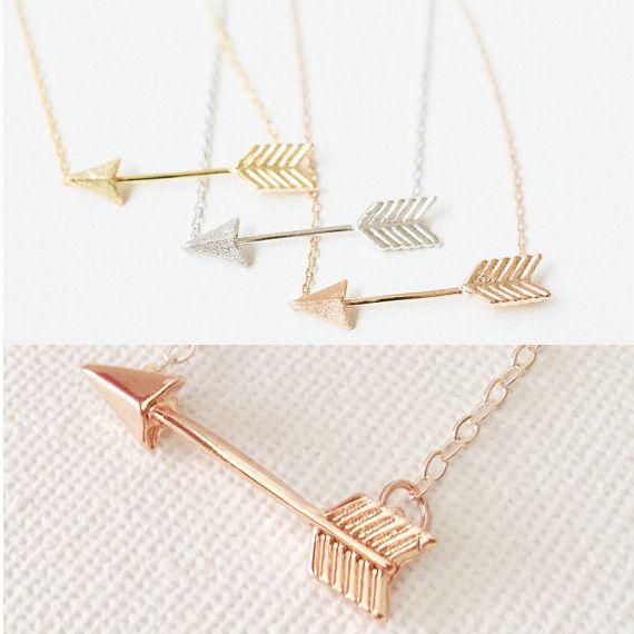 2016 neue Mode mini sieraden kette eine richtung silber rose gold überzogene pfeil Anhänger pfeil halsketten für Frauen bff schmuck