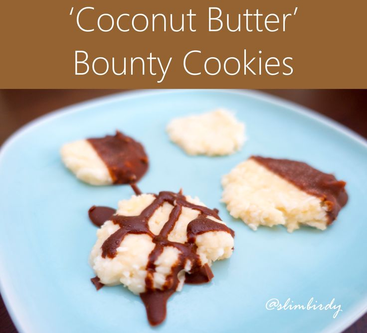 'Coconut Butter' Bounty Cookies. Only 4 ingredients not including the chocolate. So easy and healthy. http://slimbirdy.com/2016/07/22/raw-coconut-butter-bounty-cookies/ #coconutbutter @paleo @vegan